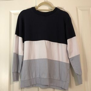 blue color-blocked crew neck